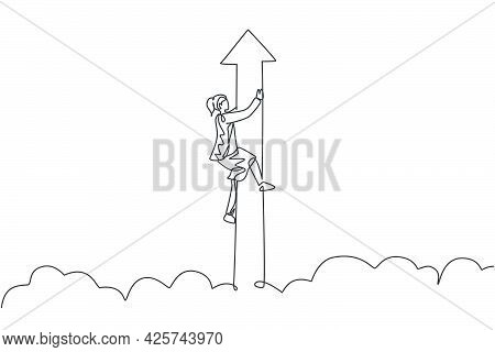 Single One Line Drawing Of Young Smart Businesswoman Hold Flying Arrow Up Symbol Through Sky. Busine