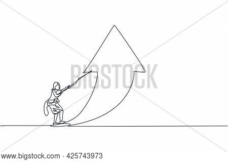 Single Continuous Line Drawing Of Young Beauty Businesswoman Pulling Arrow Up Symbol Direction. Prof