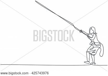 Continuous One Line Drawing Of Young Female Entrepreneur Pulling Rope To Reach Goal, Metaphor. Succe