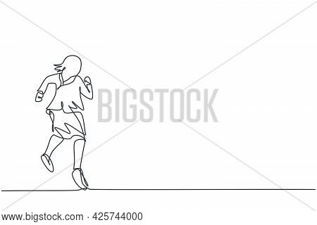 Single One Line Drawing Of Young Smart Businesswoman Running Fast To Reach Finish Line. Business Rac