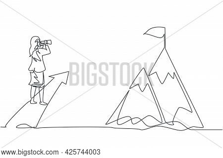 Single One Line Drawing Of Young Smart Businesswoman Looking Goal Target At Top Of The Mount. Busine