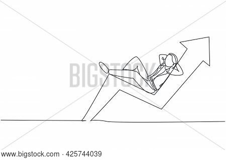 Single One Line Drawing Of Young Smart Investor Lay Down Relaxing On Up Arrow Symbol. Business Inves