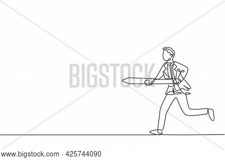 Single One Line Drawing Of Young Smart Male Employee Running And Holding Spear To Hit Target. Busine