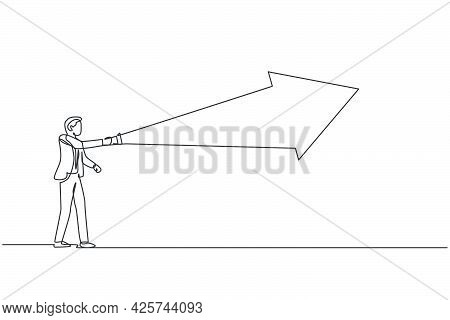 Continuous One Line Drawing Of Young Handsome Male Worker Flashlight Forward To Light The Way. Succe