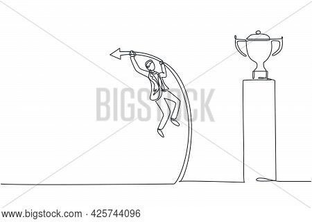 Continuous One Line Drawing Young Handsome Male Worker Jumping Using Pole Vault To Reach Trophy. Suc