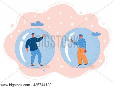 Vector Illustration Of People Inside Echo Chamber, Isolated Bubble, Woman And Man Cant Communicate O