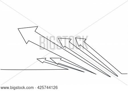 Continuous One Line Drawing Of Rising Up Rapid Arrows Symbol. Increasing Business Financial Growth M