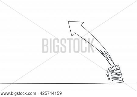 Single Continuous Line Drawing Of Metal Spring With Leaping Up Arrow Symbol Above. Business Jumping