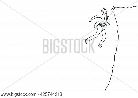 Continuous One Line Drawing Of Young Struggling Male Worker Holding On The Edge Of The Cliff. Fighte
