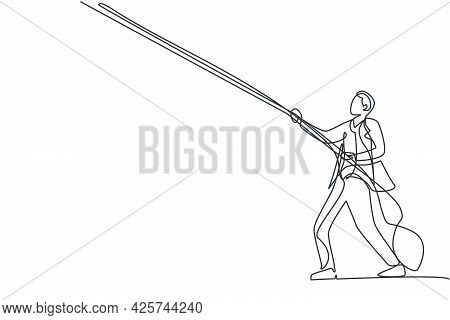 Single One Line Drawing Of Young Smart Male Employee Pull Object On The Sky Using Rope, Metaphor. Ha