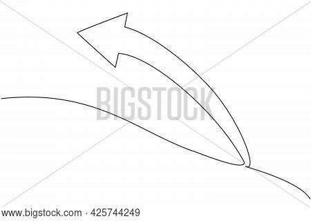 Single Continuous Line Drawing Of Backward Direction Arrow Shape Symbol. Undo Action Icon. Minimalis