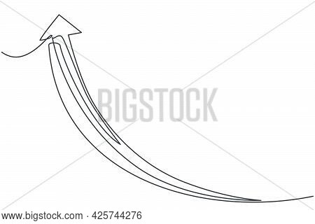 Single Continuous Line Drawing Of Rising Up Arrow Symbol. Above Pointer Shape Direction. Minimalism