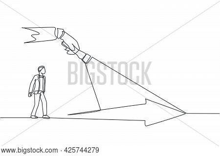 Single Continuous Line Drawing Of Young Entrepreneur Gets The Light To Light His Success Way. Attrac