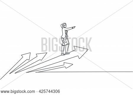 Continuous One Line Drawing Of Young Female Worker Riding On Forward Arrows Symbol. Success Business