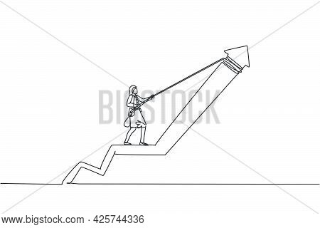 Single One Line Drawing Of Young Smart Business Woman Pulling Up Arrow Symbol To Increase Graph. Bus
