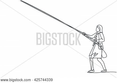 Continuous One Line Drawing Of Young Female Worker Pulling Rope To Get The Kites. Success Business M