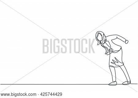 Single One Line Drawing Of Young Angry Business Woman Giving Mad Gesture Ready To Hit Obstacle. Busi