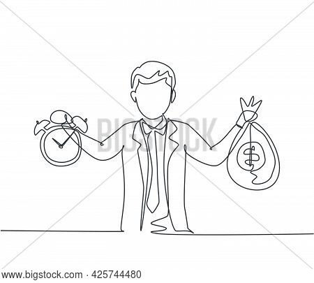 Single Continuous Line Drawing Young Business Man Holding Money Bag And Alarm Clock With His Hands.