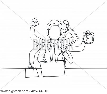 Single One Line Drawing Of Busy Young Business Man With Holding Telephone, Alarm Clock, Paper. Busin