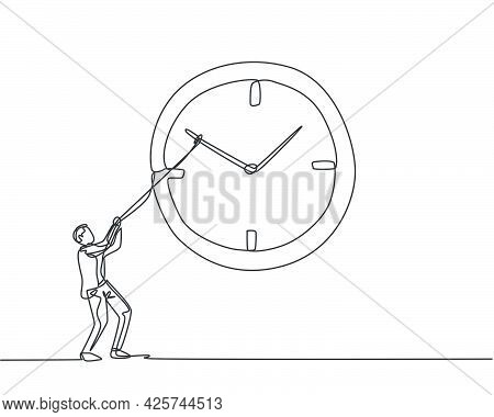 Continuous One Line Drawing Young Male Worker Pulling Clockwise Of Big Analog Wall Clock With Rope.