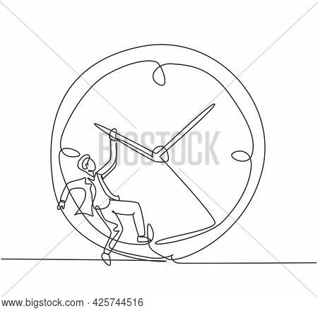 Single One Line Drawing Of Young Business Man Hanging On Clockwise Of Giant Analog Clock. Business T
