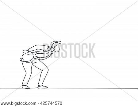 Single One Line Drawing Of Young Business Man Bent Over Because Work Overload. Business Time Discipl