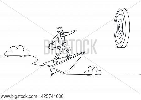 Continuous One Line Drawing Young Male Worker Focus Flying With Paper Air Plane Into Target Dartboar