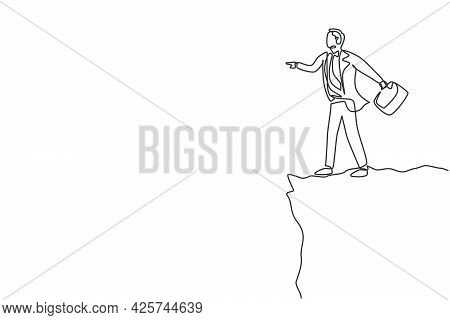 Single One Line Drawing Of Young Smart Business Man Standing On The Edge Of The Cliff. Business Chal