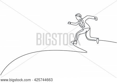 Continuous One Line Drawing Of Young Happy Male Entrepreneur Jumping High Into The Sky. Success Busi