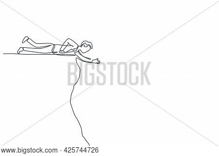 Single Continuous Line Drawing Young Business Man Lay Down On Edge Cliff To Reach His Partner. Busin