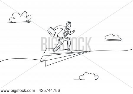 Continuous One Line Drawing Young Male Worker Pose Ready To Sprint On Flying Paper Airplane. Success