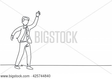 Single Continuous Line Drawing Young Business Man Waving Hand To His Business Colleague. Professiona