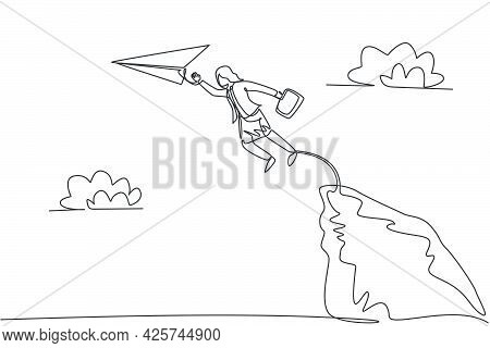 Single Continuous Line Drawing Young Business Woman Jumping To Reach Paper Plane From Top Of The Cli