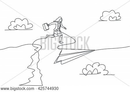 Single One Line Drawing Young Businesswoman Jumping To Flying Paper Plane From Top Of The Cliff. Bus