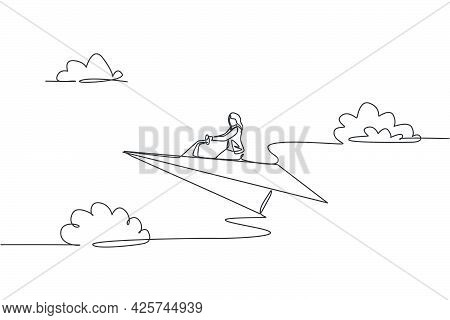 Single Continuous Line Drawing Young Business Woman Ride Paper Plane To Achieve Business Goal. Profe