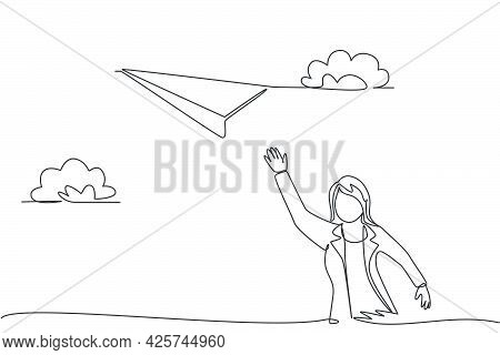 Single Continuous Line Drawing Young Business Woman Flies A Paper Plane Up To The Sky. Professional