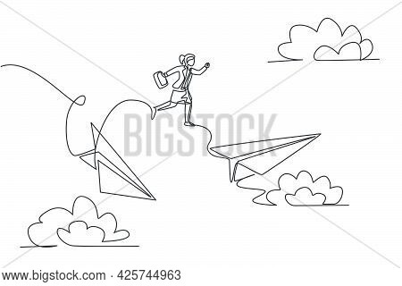Continuous One Line Drawing Of Young Female Worker Jumping From Crash Paper Plane To The Healthy One
