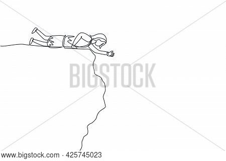 Single Continuous Line Drawing Of Young Business Woman Lay Down At Cliff Edge To Reach Partner. Prof