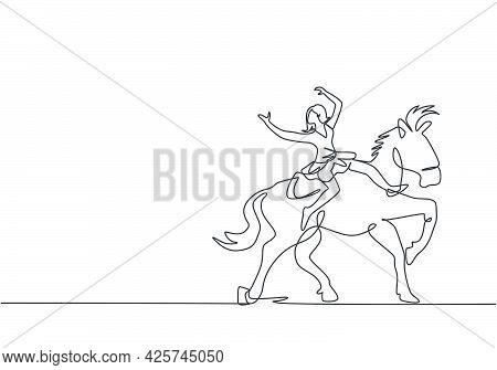 Single One Line Drawing A Female Acrobat Performs On A Circus Horse While Dancing On The Horse's Bac