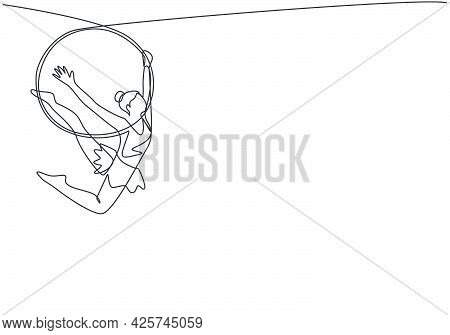 Continuous One Line Drawing An Acrobatic Woman Who Performs On An Aerial Hoop While Dancing And Has