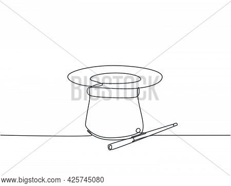 Single Continuous Line Drawing Magic Hat And Wand That A Magician Needs For A Magic Show. Two Tools