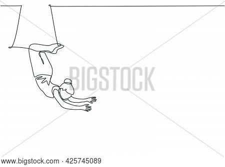 Continuous One Line Drawing A Female Acrobat Performs On The Trapeze With Her Legs Hanging And Head