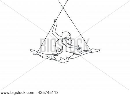 Single Continuous Line Drawing A Female Acrobat Performs On The Trapeze While Dancing And Spreading