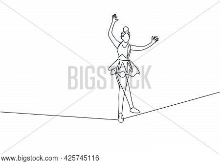 Single One Line Drawing A Female Acrobat Walking On A Rope While Dancing And Raising Her Hands. This