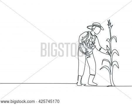 Single One Line Drawing Of Young Male Farmer Picking The Corn On The Tree. Professional Farmer. Farm