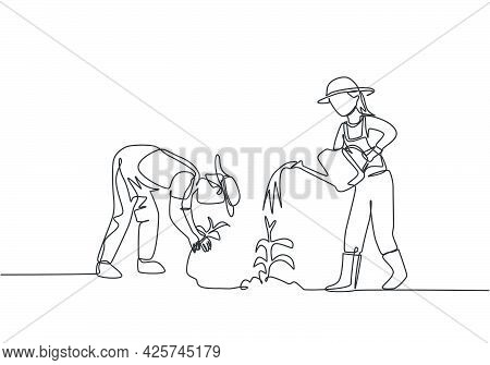 Single One Line Drawing Of Couple Farmer Water The Plants Using A Watering Can And Planting Plants.