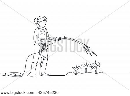 Continuous One Line Drawing Young Female Farmer Standing On Farm Field While Watering The Plants Usi