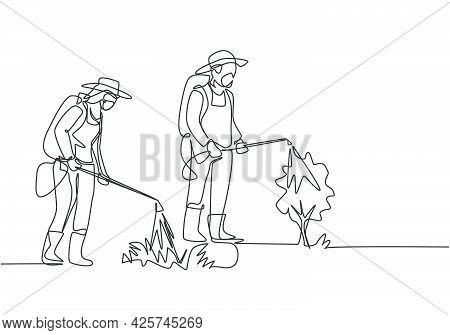 Single One Line Drawing Of Couple Farmer Complete With A Mask Spraying The Plants With Disinfectant