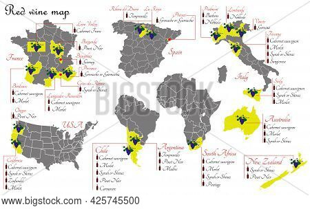 Red Wine Map. Wine Production Map Showing Grape Varieties. Regions Of Grape Growing For Wine Product