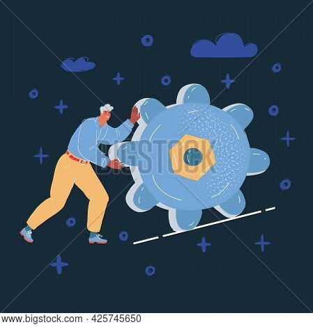 Vector Illustration Of Happy Businessman Pulling Gear On Dark Backround.